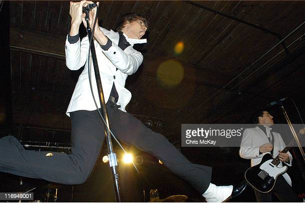 Pelle Almqvist Nicholaus Arson of the Hives during The Hives Live In Concert November 23 2004 at The Masquerade Atlanta in Atlanta Georgia United...