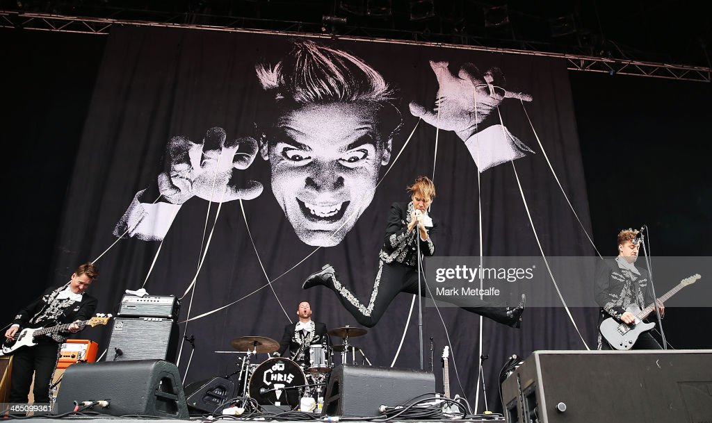 Pelle Almqvist of The Hives performs live for fans at the 2014 Big Day Out Festival on January 26, 2014 in Sydney, Australia.