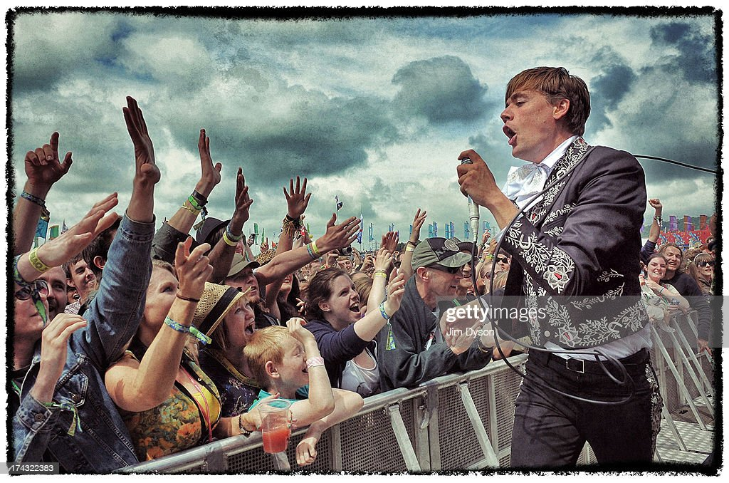 Pelle Almqvist of The Hives performs live on the Other stage during day 2 of the 2013 Glastonbury Festival at Worthy Farm on June 28, 2013 in Glastonbury, England.