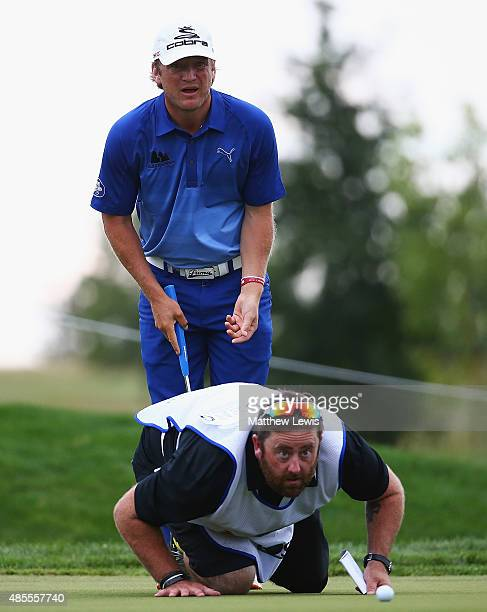 Pelle Edberg of Sweden lines up a putt on the 8th hole with his caddie during day two of the DD Real Czech Masters at Albatross Golf Resort on August...