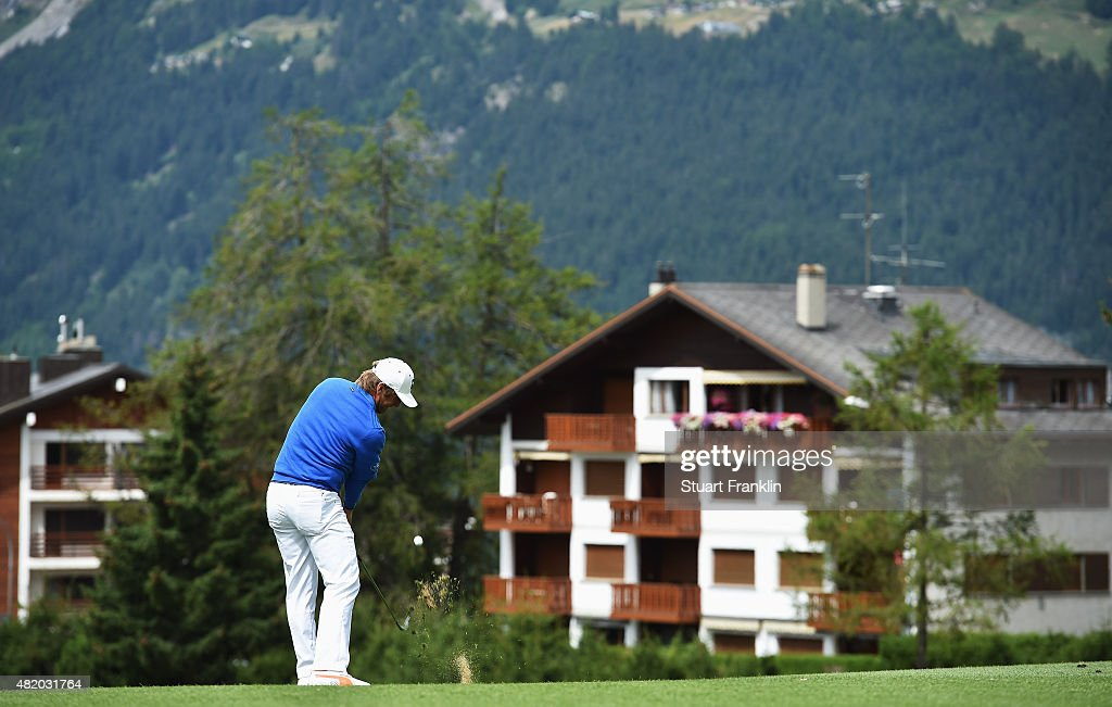 Pelle Edberg of Sweden plays a shot during the final round of the Omega European Masters at CranssurSierre Golf Club on July 26 2015 in CransMontana...