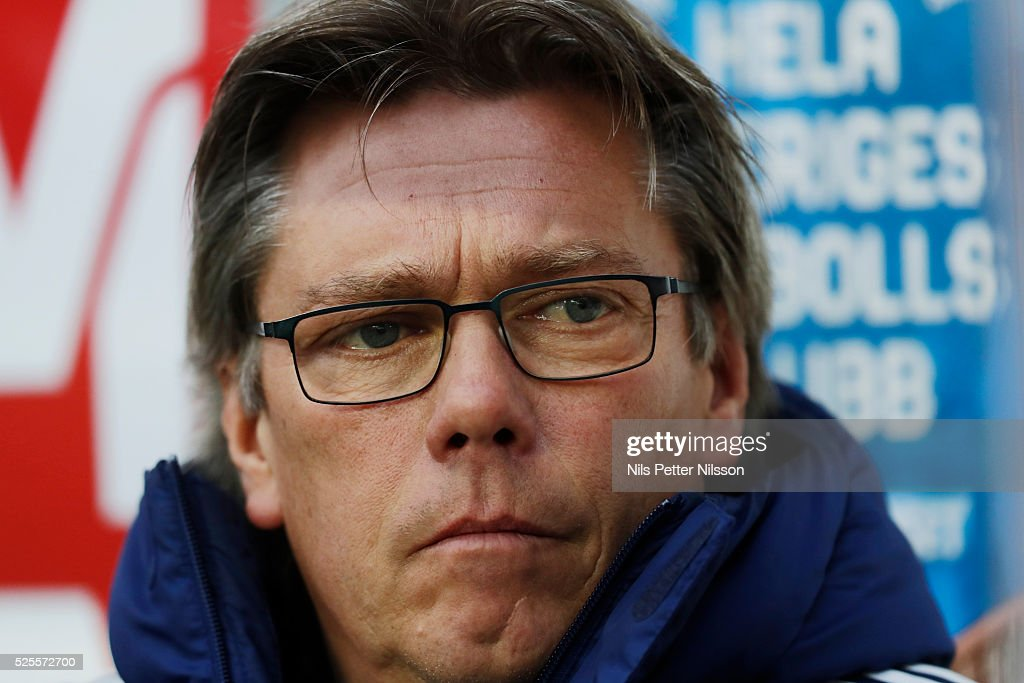 Pelle Olsson, head coach of Djurgardens IF during the Allsvenskan match between IF Elfsborg and Djurgardens IF at Boras Arena on April 28, 2016 in Boras, Sweden.
