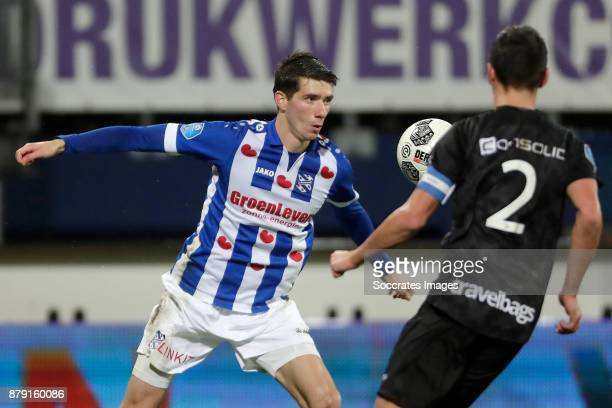 Pelle van Amersfoort of SC Heerenveen Bram van Polen of PEC Zwolle during the Dutch Eredivisie match between SC Heerenveen v PEC Zwolle at the Abe...