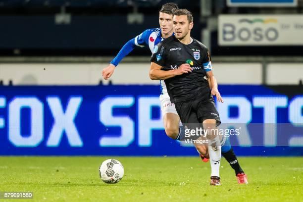 Pelle van Amersfoort of sc Heerenveen Bram van Polen of PEC Zwolle during the Dutch Eredivisie match between sc Heerenveen and PEC Zwolle at Abe...