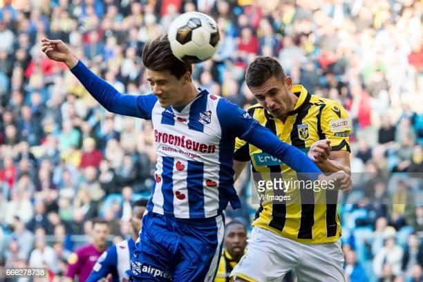 Pelle van Amersfoort of sc Heerenveen Matt Miazga of Vitesseduring the Dutch Eredivisie match between Vitesse Arnhem and sc Heerenveen at Gelredome...