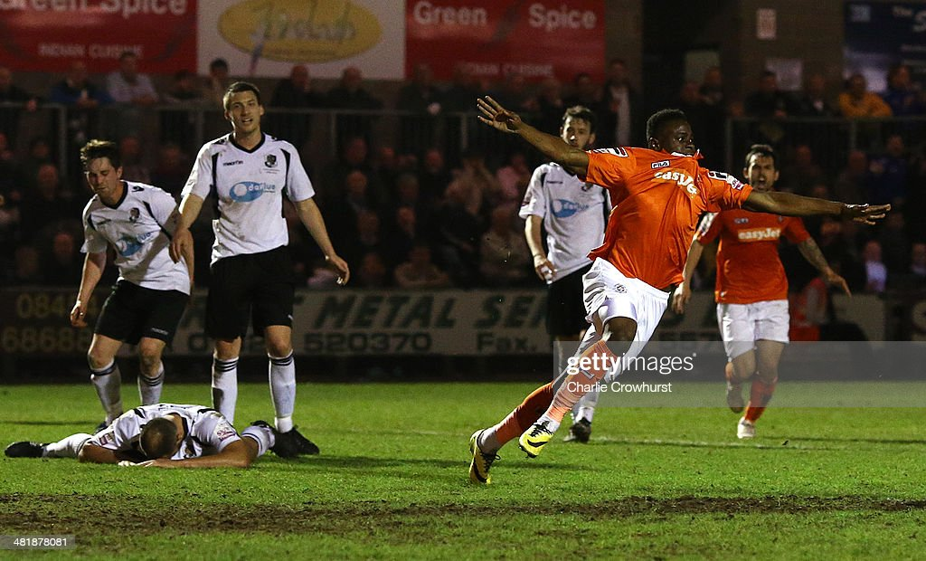 Pelly Ruddock-Mpanzu of Luton celebrates after scoring the equaliser during the Skrill Conference Premier match between Dartford and Luton Town at Princes Park on April 01, 2014 in Dartford, England,
