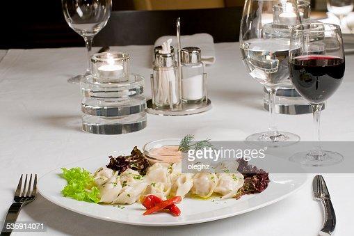 Pelmeni, meat dumplings : Stock Photo