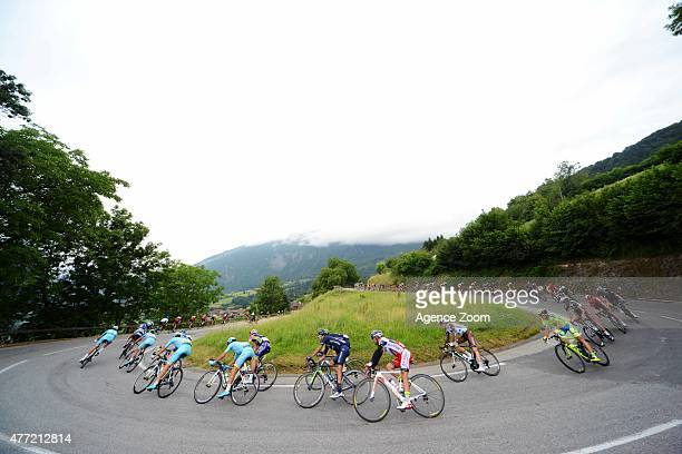 Peloton during Stage Eight of the Criterium du Dauphine on Sunday 14 June 2015 Saint Gervais Mont Blanc France