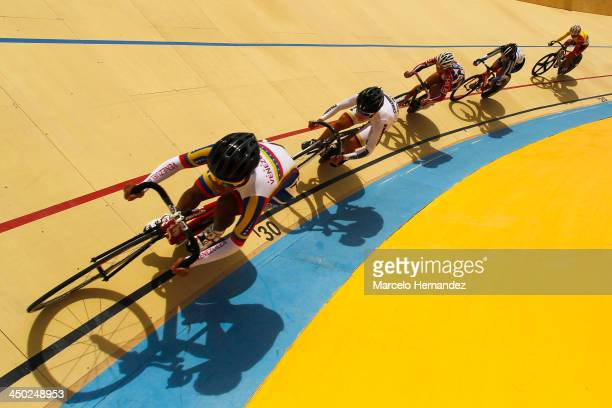 Peloton during the Omnium Cycling event as part of the XVII Bolivarian Games Trujillo 2013 at Colegio San Agustin Velodrome on November 17 2013 in...