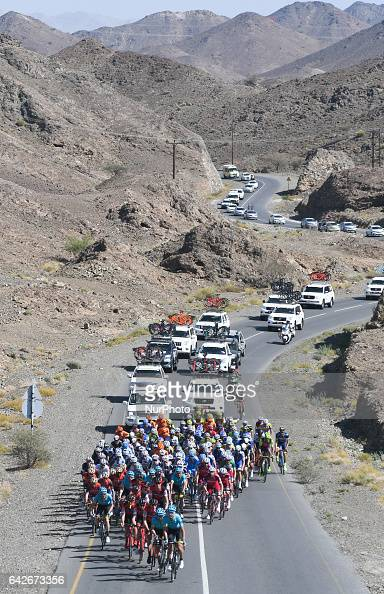 A peloton of riders during the fifth stage a 1525km from Sama'il to Jabal Al Akhdhar at the 2017 cycling Tour of Oman On Saturday February 18 in...
