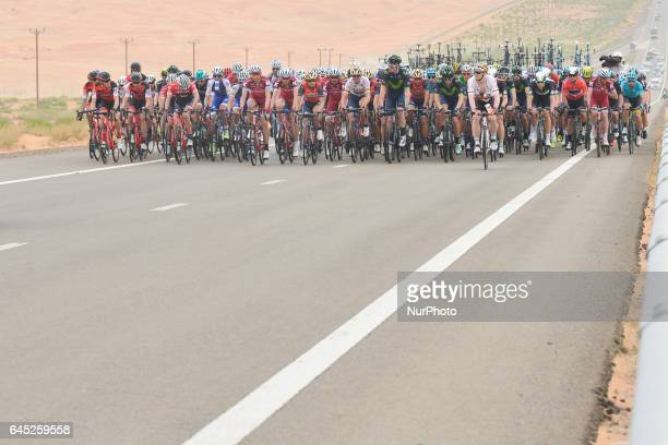 A peloton of riders during the third stage a 186km Al Maryah Island Stage from Al Ain to Jebel Hafeet On Saturday February 25 in Al Ain Abu Dhabi UAE