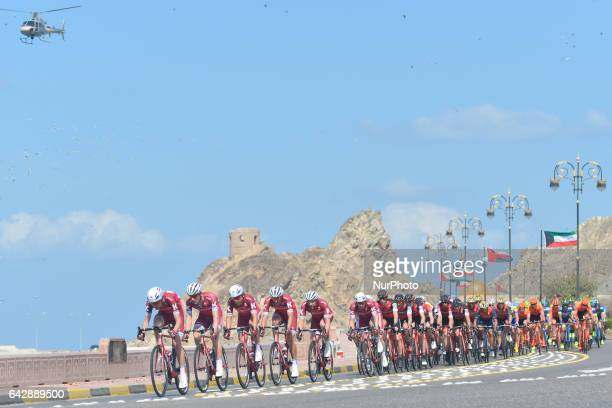 A peloton of riders led by the Team Katusha Alpecin during the sixth and final stage a 1305km from The Wave Muscat to Matrah Corniche at the 2017...