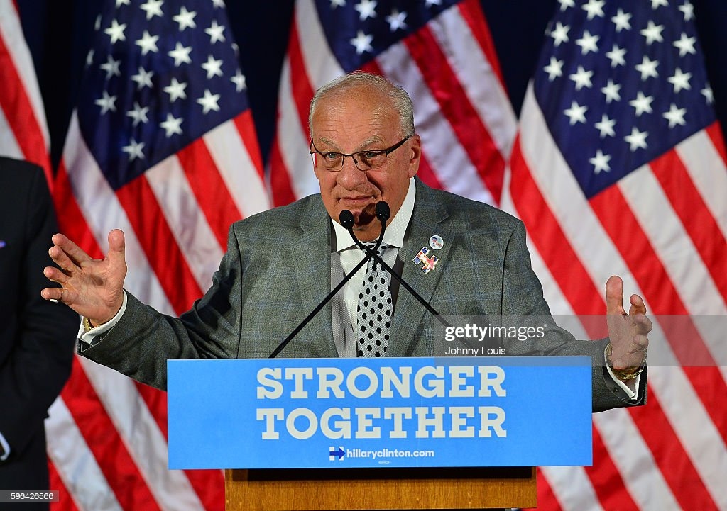 Pembroke Pines Mayor Frank C Ortis attends Democratic vicepresidential nominee Tim Kaine meeting with Local Mayors and Elected Officials for a policy...
