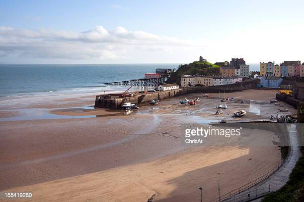 UK, Pembrokeshire, Tenby, houses around the harbour at low tide