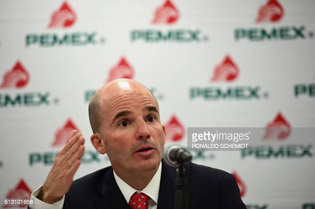 Pemex CEO José Antonio González Anaya speaks during a press conference in Mexico City on February 29 2016 Mexico's embattled staterun energy firm...