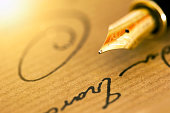 Fountain pen and signature - business banner background