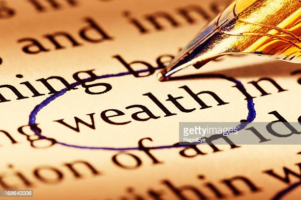 """Pen circles word """"wealth"""" on document, stressing importance of money"""