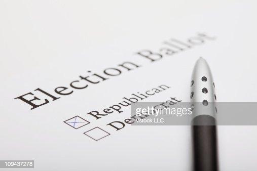 Pen on election ballot slip