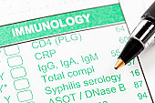 Pen on Immunology form for blood tests