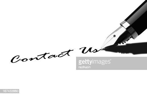 Pen writing Contact Us : Stock Photo