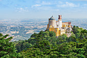 The Pena National Palace is a Romanticist palace in Sao Pedro de Penaferrim, Sintra, Portugal