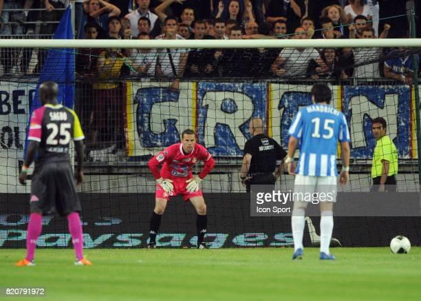 Penalty de Jean Jacques MANDRICHI arrete par Bertrand LAQUAIT Grenoble / Evian Thonon 34eme journee de Ligue 2