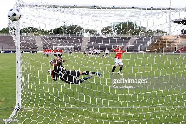 Penalty kick of Ingvild Isaksen of Norway and Desiree Schumann of Germany during the Women's U19 European Championship match between Germany and...