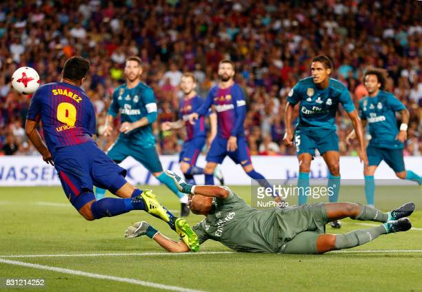 penalty of Keylor Navas on Luis Suarez during the spanish Super Cup match between FC Barcelona v Real Madrid in Barcelona on August 13 2017