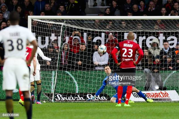 penalty scoring by Fabio Tavares of Monaco in front of KarlJohan Jonhsson of Guingamp during the French Ligue 1 match between Guingamp and Monaco at...