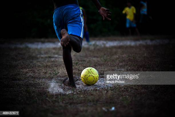 Penalty shootout kick from the penalty mark in Brazil black boys with remarkable talent for football usually have the nickname of Pelé Rural area of...