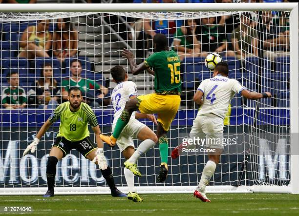 A penalty was called on Narciso Orellana of El Salvador as JeVaughn Watson of Jamaica tried to score during the 2017 CONCACAF Gold Cup at Alamodome...