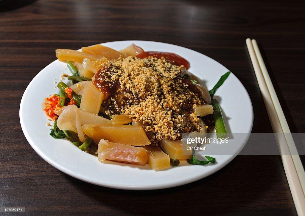 Penang Food - Cuttlefish Kangkong : Stock Photo