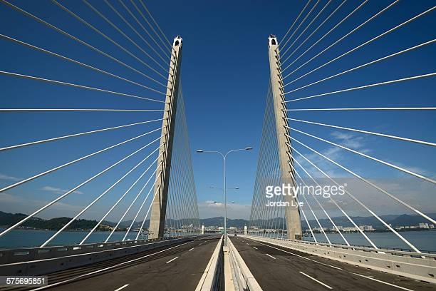 Penang second bridge with blue sky