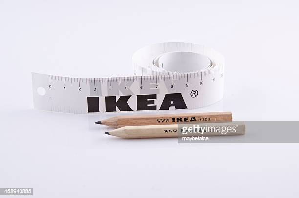 Pencil and Ruler of IKEA isolated on white