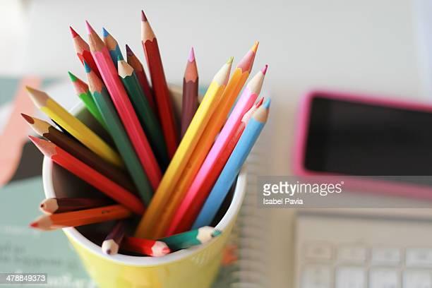 Pencil colors on a desk