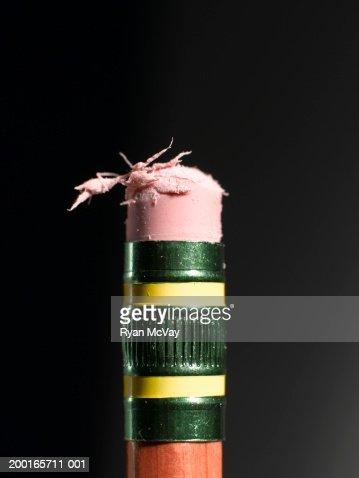 Pencil eraser, close-up : Stock Photo