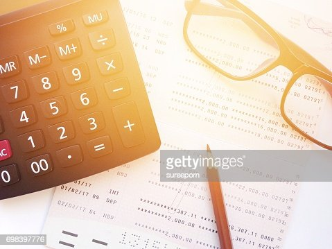Pencil Eyeglasses Calculator And Savings Account Passbook Or