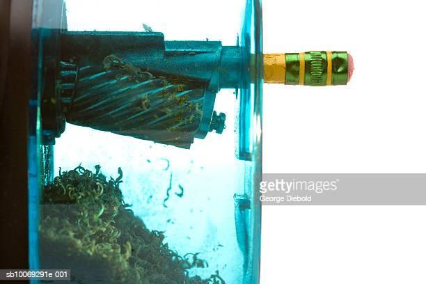 Pencil in sharpener, close-up