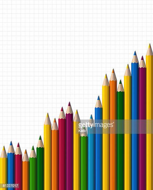 Pencil laid out on a grid paper making a graph chart.
