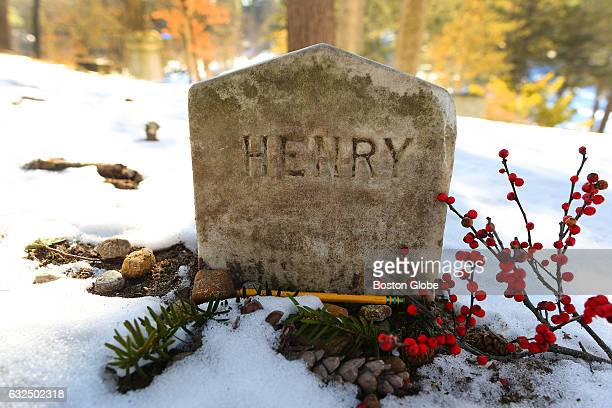 A pencil lies at the base of the gravestone of Henry David Thoreau at the Sleepy Hollow Cemetery in Concord MA on Jan 20 2016