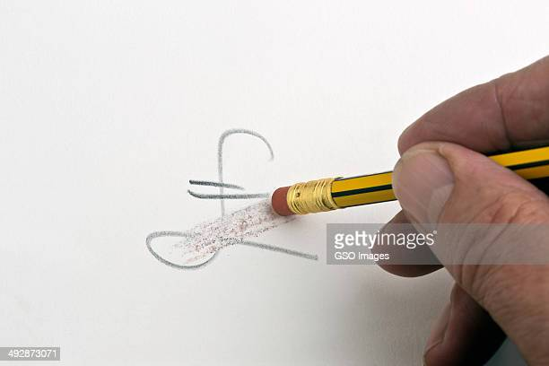 Pencil rubber erasinng financial symbol
