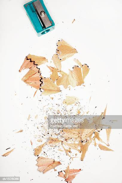 Pencil Sharpener and Shavings Viewed From Directly Above