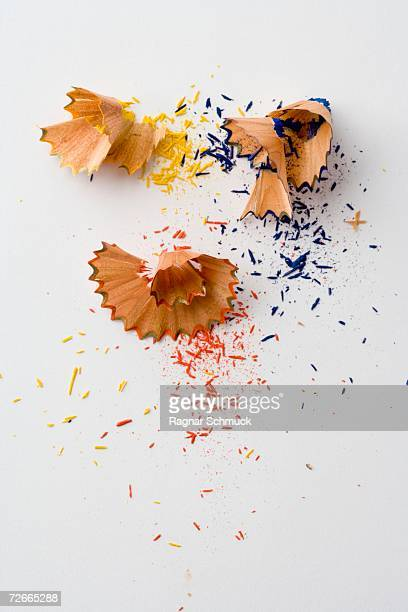 Pencil shavings from colored pencils