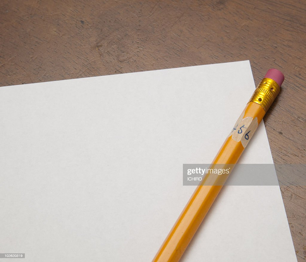 A pencil with white paper. : Stock Photo