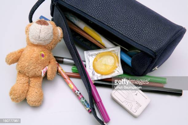 Pencilcase with condoms