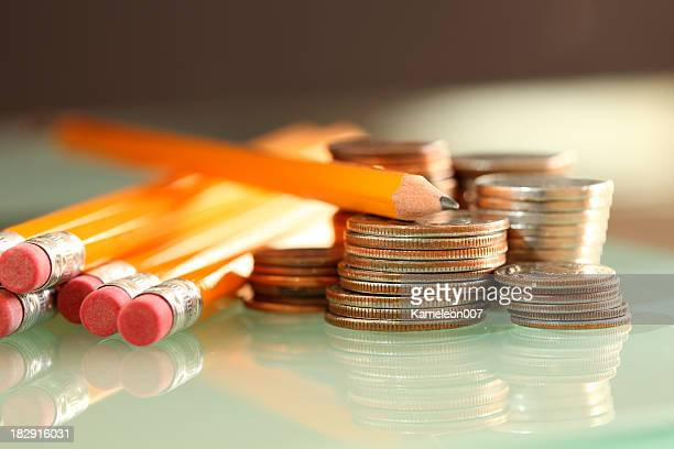 pencils and coins