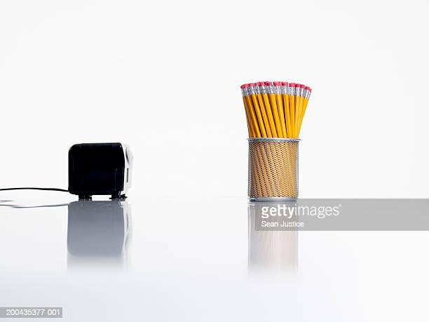 Pencils and pencil sharpener, close-up