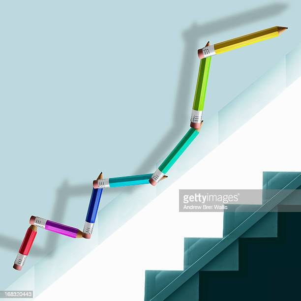 Pencils form a graph climbing the stairs
