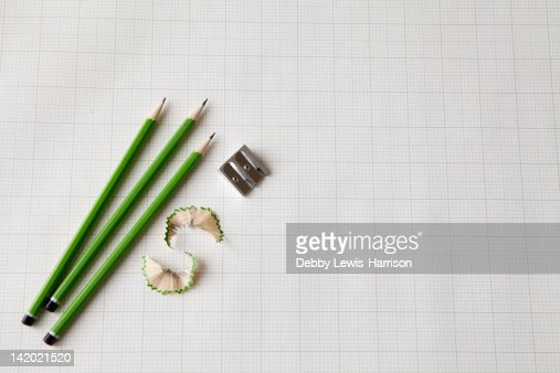 Pencils with sharpener and shavings : Stock Photo