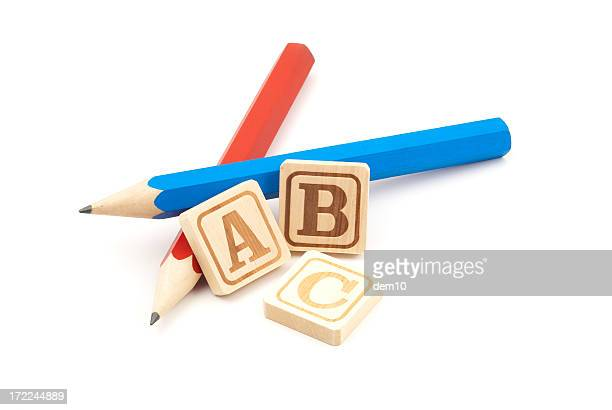 Pencils with Wooden Alphabet Blocks